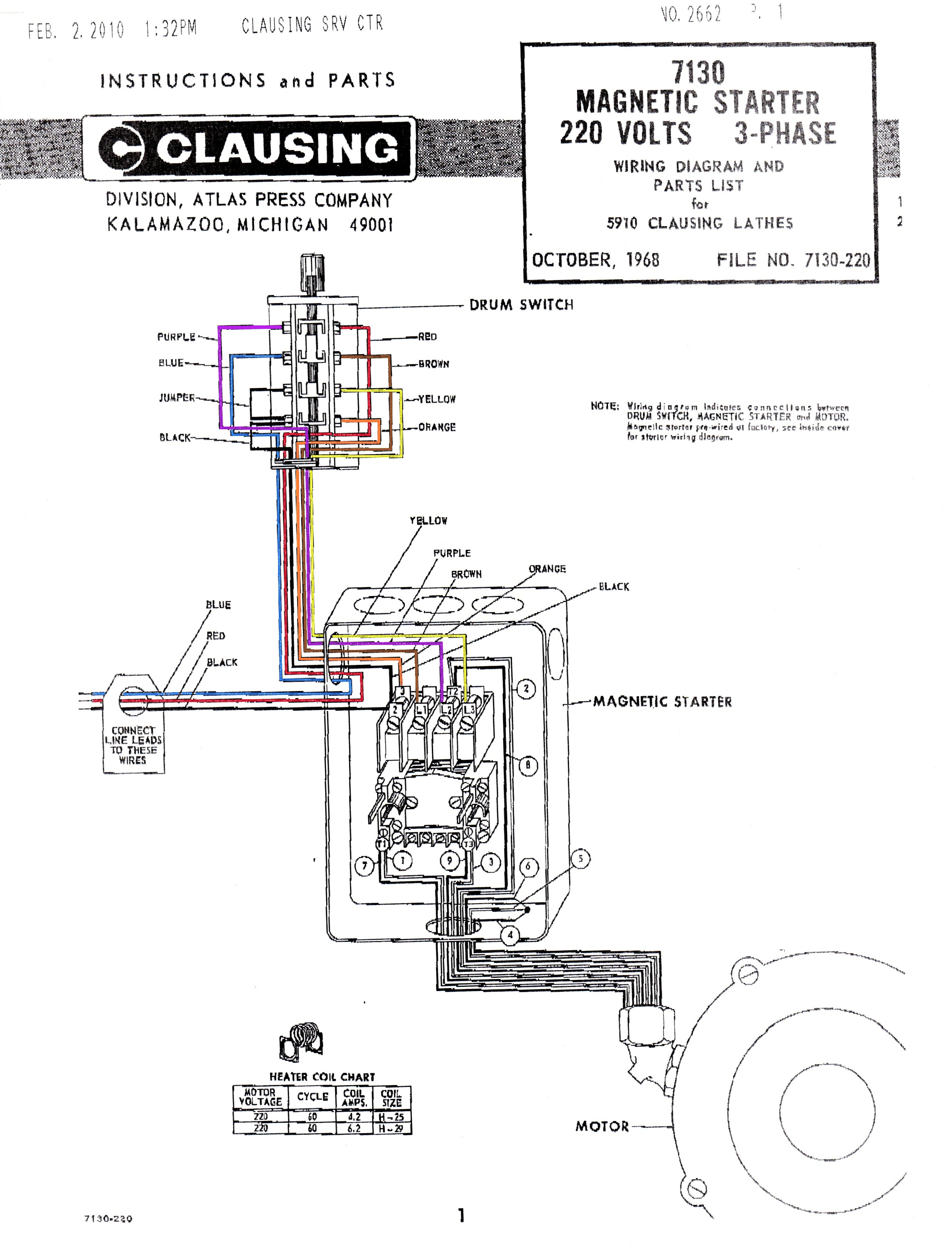 7130 Magnetic Starter Wiring Diagram Color starter wiring diagrams mag wiring diagrams instruction starter wiring diagram at creativeand.co